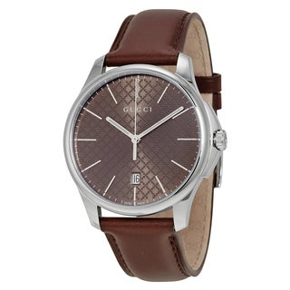 Gucci Women's YA126318 G-Timeless Round Brown Leather Strap Watch