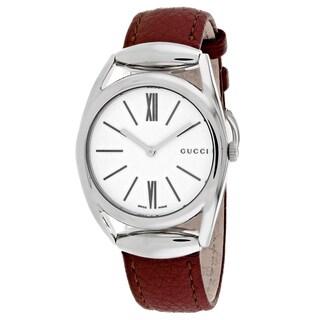 Gucci Women's YA140403 Horsebit Medium Round Brick Red Leather Strap Watch