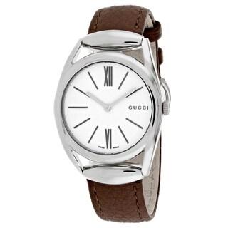 Gucci Women's YA140401 Horsebit Round Brown Leather Strap Watch