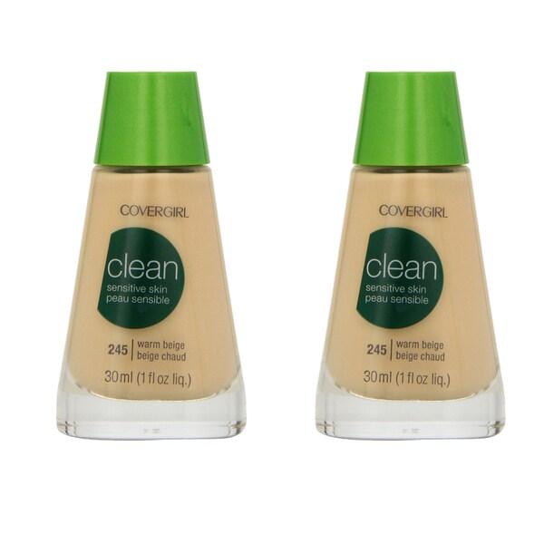 CoverGirl Clean Sensitive Skin 245 Warm Beige Liquid Makeup (Pack of 2)