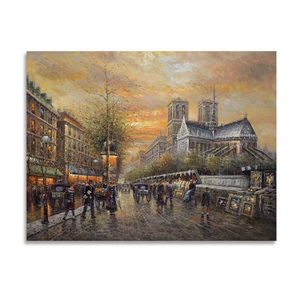 Impressionist 'Paris Cityscape' Giclee on Canvas Wall Art