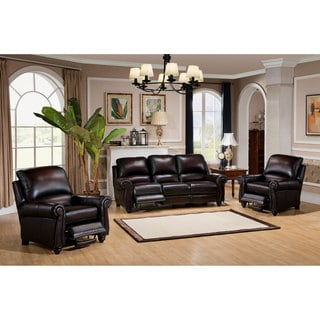 Dino Hand Rubbed Brown Top Grain Leather Reclining Sofa and Two Chairs