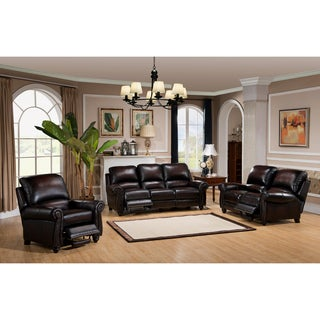 Dino Hand Rubbed Brown Top Grain Leather Reclining Sofa, Loveseat and Chair