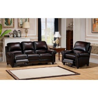 Dino Hand Rubbed Brown Top Grain Leather Reclining Sofa and Chair