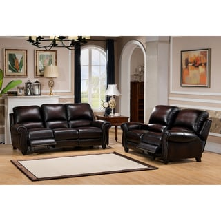 Dino Hand Rubbed Brown Top Grain Leather Reclining Sofa and Loveseat