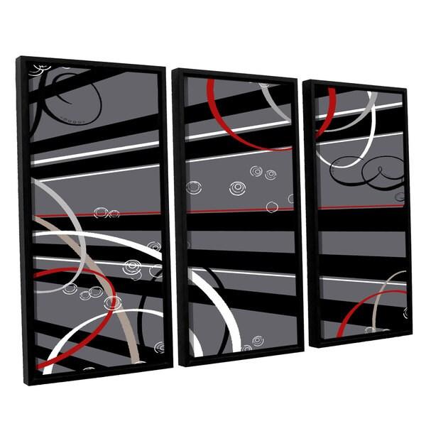 ArtWall Anna Quach's Black Grey Memo Board, 3 Piece Floater Framed Canvas Set