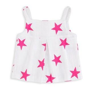 aden + anais Baby Girl's Medium Pink Star Newborn Muslin Smock Top
