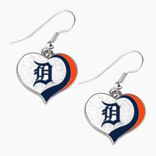 MLB Detroit Tigers Glitter Heart Earring Swirl Charm Set