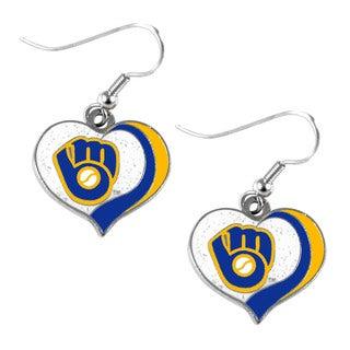 MLB Milwaukee Brewers Glitter Heart Earring Swirl Charm Set