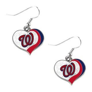 MLB Washington Nationals Glitter Heart Earring Swirl Charm Set