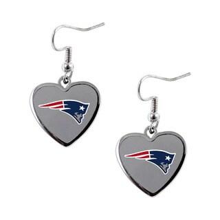 NFL New England Patriots Heart Shape Dangle Logo Earring Set