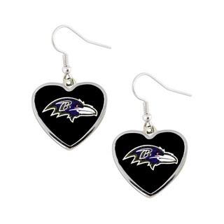 NFL Baltimore Ravens Heart Shape Dangle Logo Earring Set