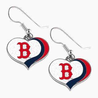 MLB Boston Red Sox Glitter Heart Earring Swirl Charm Set
