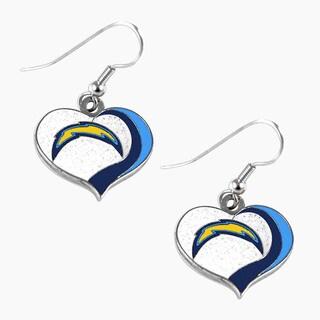 NFL San Diego Chargers Glitter Heart Earring Swirl Charm Set