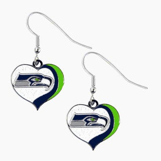 NFL Seattle Seahawks Glitter Heart Earring Swirl Charm Set