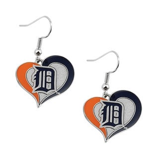 MLB Detroit Tigers Swirl Heart Shape Dangle Logo Earring Set