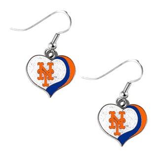 MLB New York Mets Glitter Heart Earring Swirl Charm Set