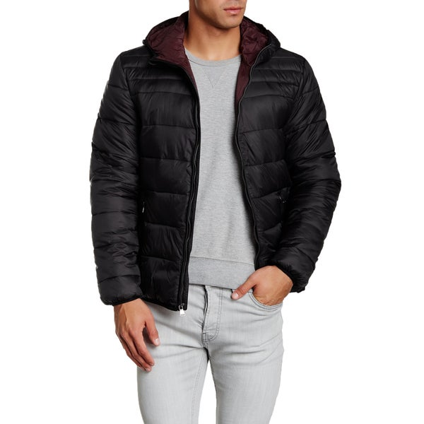 Perry Ellis Men's Black Quilted Hooded Contrast Lining Puffer Jacket