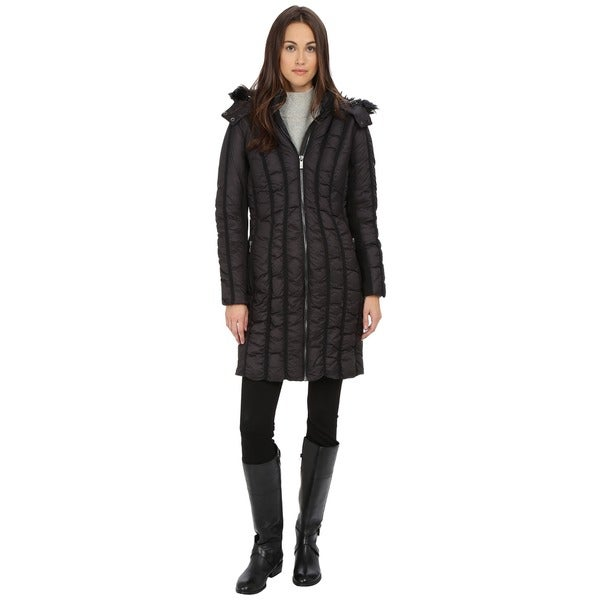 Zac Zac Posen Women's Carla Black Quilted Faux Fur Hooded Coat