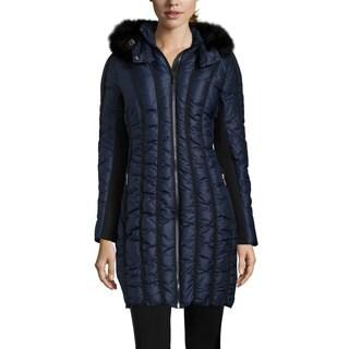 Zac Zac Posen Women's Carla Blue Quilted Faux Fur Hooded Coat