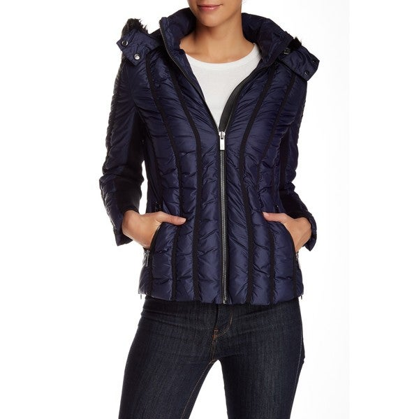 Zac Zac Posen Women's Olivia Blue Faux Fur Hooded Puffer Jacket