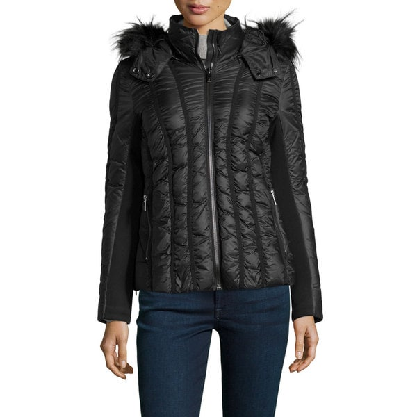 Zac Zac Posen Women's Olivia Black Faux Fur Hooded Puffer Jacket