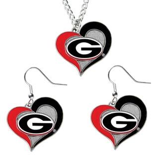 NCAA Georgia Bulldogs Swirl Heart Dangle Logo Necklace and Earring Set