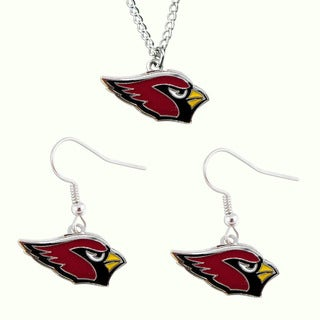 NFL Arizona Cardinals Sports Team Dangle Earring and Necklace Set