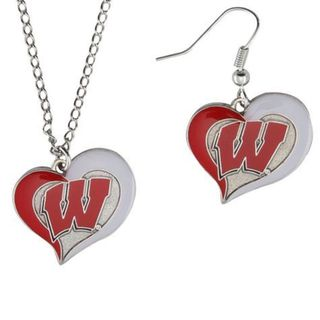 NCAA Wisconsin Swirl Heart Pendant Necklace and Earring Set