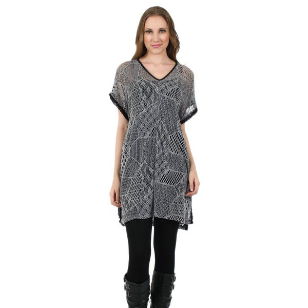 Firmiana Women's Short Sleeve Grey Crochet Tunic