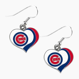 MLB Chicago Cubs Glitter Heart Earring Swirl Charm Set