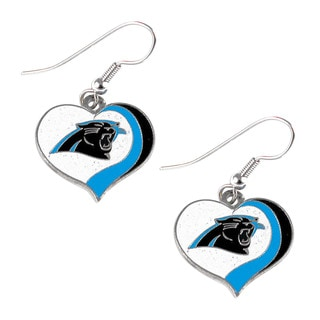 NFL Carolina Panthers Glitter Heart Earring Swirl Charm Set