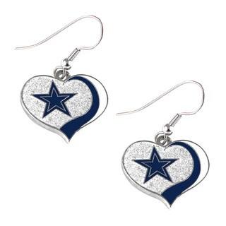 NFL Dallas Cowboys Glitter Heart Earring Swirl Charm Set