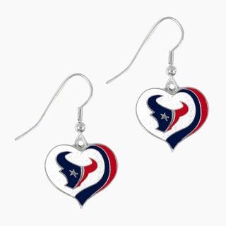 NFL Houston Texans Glitter Heart Earring Swirl Charm Set