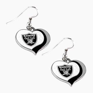 NFL Oakland Raiders Glitter Heart Earring Swirl Charm Set
