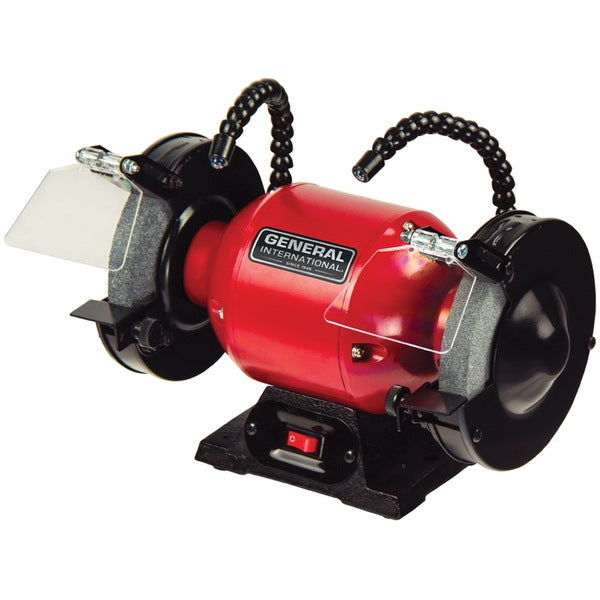 General International Bench Grinder with Twin Multi-directional LED Lighting