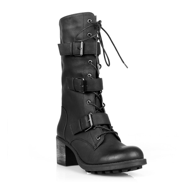 Fahrenheit Nancy-05Z Mid-Calf Lace-Up Combat Boot