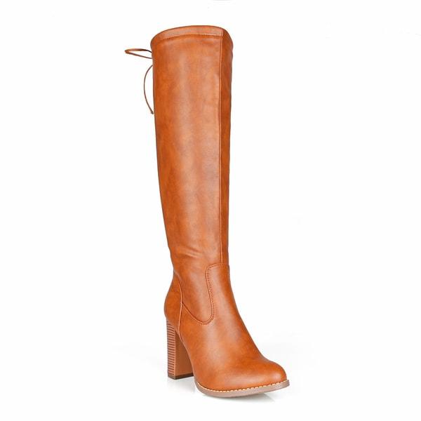 Fahrenheit Benson-06 Back Tie Stacked Heel Women's Knee High Boots