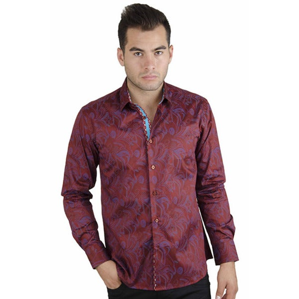 Men's Burgundy Printed Button Up Shirt