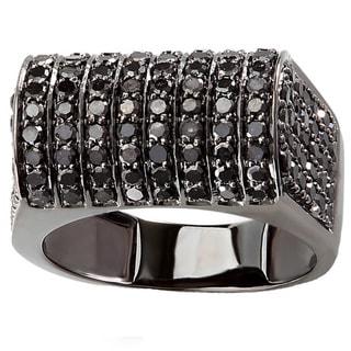 10k Black Gold 3ct Round Black Diamond Men's Hip Hop Pinky Ring
