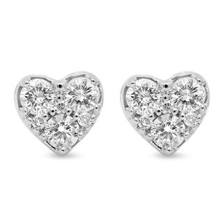 10k White Gold 3/8ct TDW Diamond Heart Shape Stud Earrings (H-I, I1-I2)