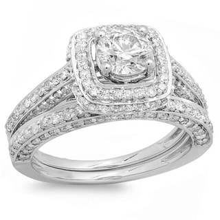 14k White Gold Round 2ct TDW Diamond Halo Style Bridal Engagement Ring Set (I-J, I1-I2)