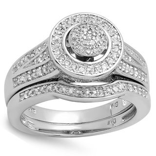 Sterling Silver 1/2ct TDW White Diamond Bridal Engagement Ring Set (I-J, I2-I3)