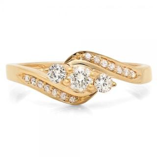 14k Gold 1/2ct TDW Round Diamond 3-stone Curved Band Engagement Ring (I-J, I1-I2)