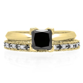 10k Gold 1 1/2ct TDW Black and White Diamond Bridal Ring Set (H-I, I1-I2)