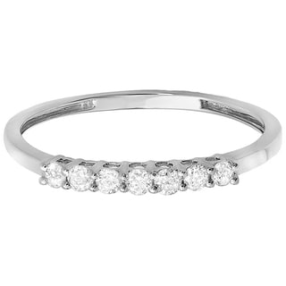 10k Gold 1/4ct TDW Diamond 7-stone Anniversary Stackable Ring (I-J, I2-I3)