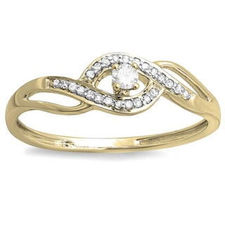 10k Yellow Gold 1/6ct TDW Diamond Criss-Cross Engagement Bridal Promise Ring (I-J, I2-I3)