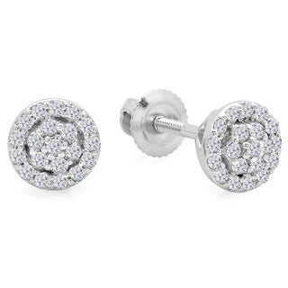 10k White Gold 1/4ct TDW White Diamond Circle Cluster Stud Earrings (I-J, I2-I3)