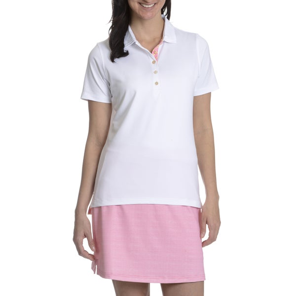 Peter Millar E4 Performance Women's White Short Sleeve Collared Top 17134368