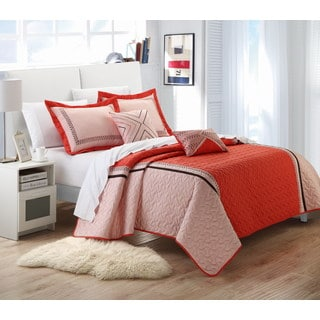 Chic Home Paulo Orange Embroidered 5-piece Quilt Set